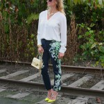Anthropologie floral trousers, Macy's top