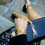 Vintage Chanel bracelet, YSL clutch and Sophia Webster heels