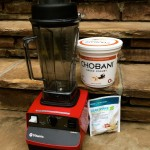 Vitamix Bar Boss, Chobani greek yogurt and GNC protein powder