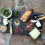 Charcuterie wine and cheese plate