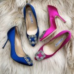Blue and Fuchsia Manolo pumps
