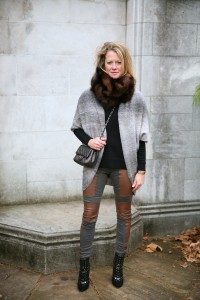 Fur collar, Forever 21 sweater, BCBG trousers