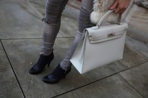 Chanel boots, Hermes Kelly bag