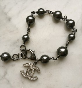 Chanel grey pearl bracelet