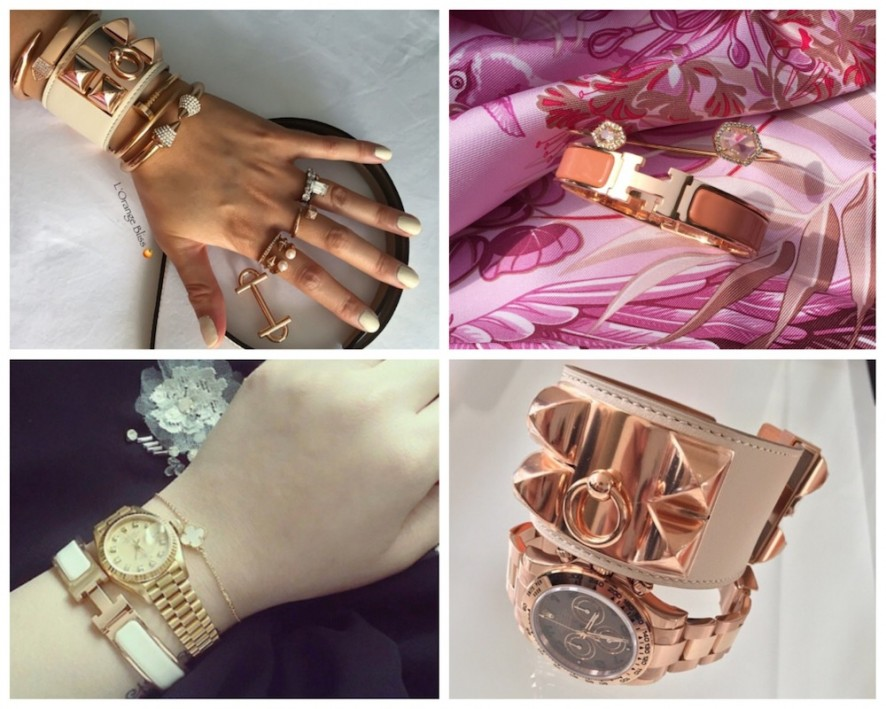 Hermes Rose Gold wrist picks