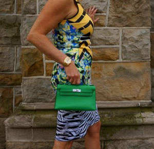 Clover Canyon neoprene dress, Hermes Kelly Pochette