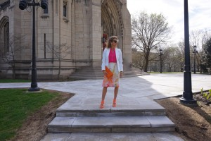 H&M blazer, Anthropologie skirt, Hermes clutch