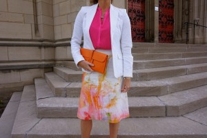 H&M blazer, Forever21 top, Anthropologie skirt