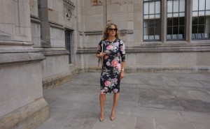 ASOS 25 dollar floral dress, Valentino bag, Louboutin Pigalle plato nude pump