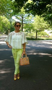 Anthropologie top, Forever21 denim, Lady Dior bag
