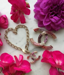 Chanel strass brooch and bracelet
