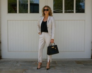 H&M suiting outfit, Hermes kelly bag