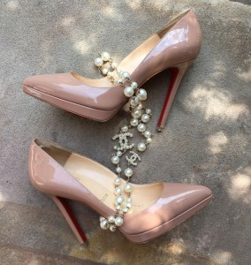 Louboutin PIgalle Plato in nude and Chanel pearls