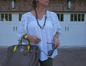 Anthropologie top, hermes etoupe birkin