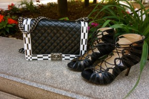 Chanel boy bag, Jimmy Choo lace up sandals