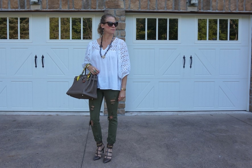 Forever21 army green distressed denim