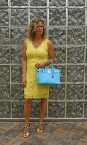 H&M fitted lace dress, Dolce and Gabbana sandals