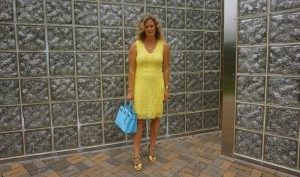 H&M fitted lace dress in yellow
