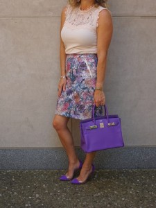 H&M outift and purple Gianvito Rossi plexi pumps