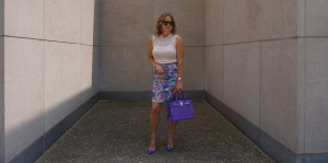 H&M purple print pencil skirt