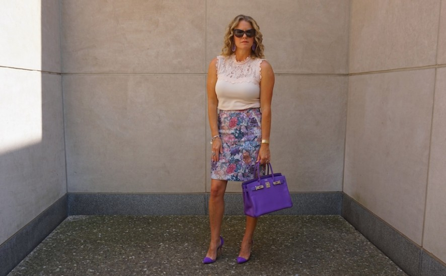 H&M purple print outfit