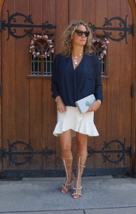 Topshop Nordstrom Suplice pocket blouse, H&M ruffled skirt