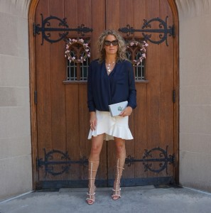 Topshop blouse, H&M skirt, Charlotte Olympia clutch