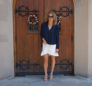 Topshop navy blouse from Nordstrom, H&M peplum skirt
