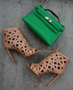 Azzedine Alaia lace up sandals, Hermes Kelly Pochette in Bambou
