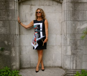 BCBG Asymmetrical Peplum dress, Ray Ban aviators, YSL Cassandre clutch