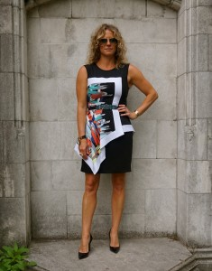 BCBG Asymmetrical peplum dress and Louboutin Pigalles