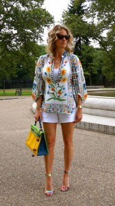 DVF blouse, Cache shorts, Hermes tri color Kelly