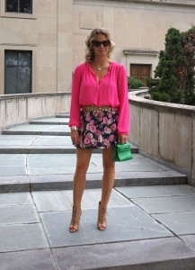 Forever21 blouse and floral mini skirt