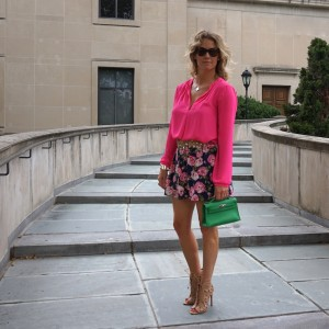 Forever21 pink blouse, floral mini skirt