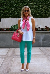 H&M textured peplum top, Target Merona pants, Sophia Webster boss lady pump