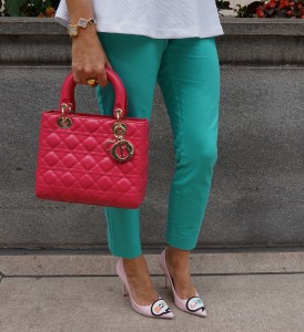 Lady Dior medium bag, Target Merona modern ankle pant, Sophia Webster boss lady pumps
