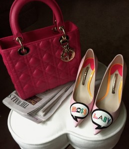 Lady Dior medium bag in fuchsia, Sophia Webster Boss Lady pumps
