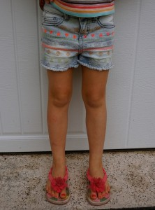 daughter wearing Cherokee girls denim shorts