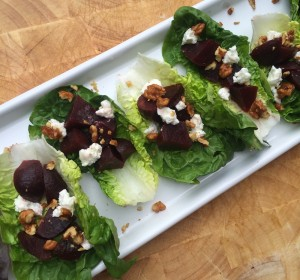 Beets, Goat Cheese, walnuts and butter lettuce