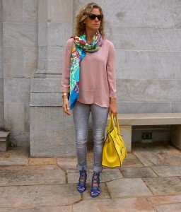 Forever21 nude blouse, grey jeans