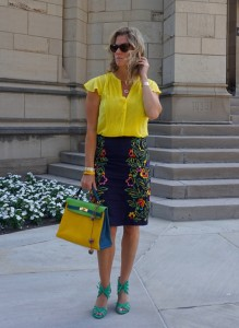 H&M blouse, Anthropologie skirt, Hermes tri colored kelly