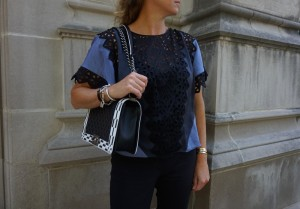 Rebecca Taylor top, Chanel boy bag