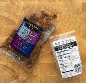 Trader Joe's candied walnuts and goat cheese