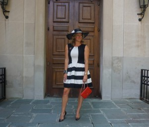 Anthropolgie dress, Louboutin Pivichic pumps