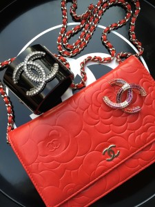 Chanel camellia woc, cuff and brooch