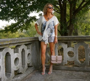 DVF top, Old Navy shorts, Aquazzura sandals