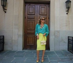 Forever 21 chiffon blouse, BCBG pencil skirt