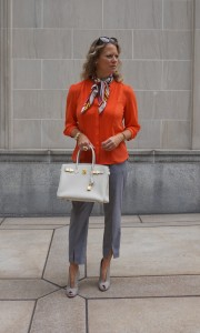 H&M blouse and trousers, Gianvito Rossi booties
