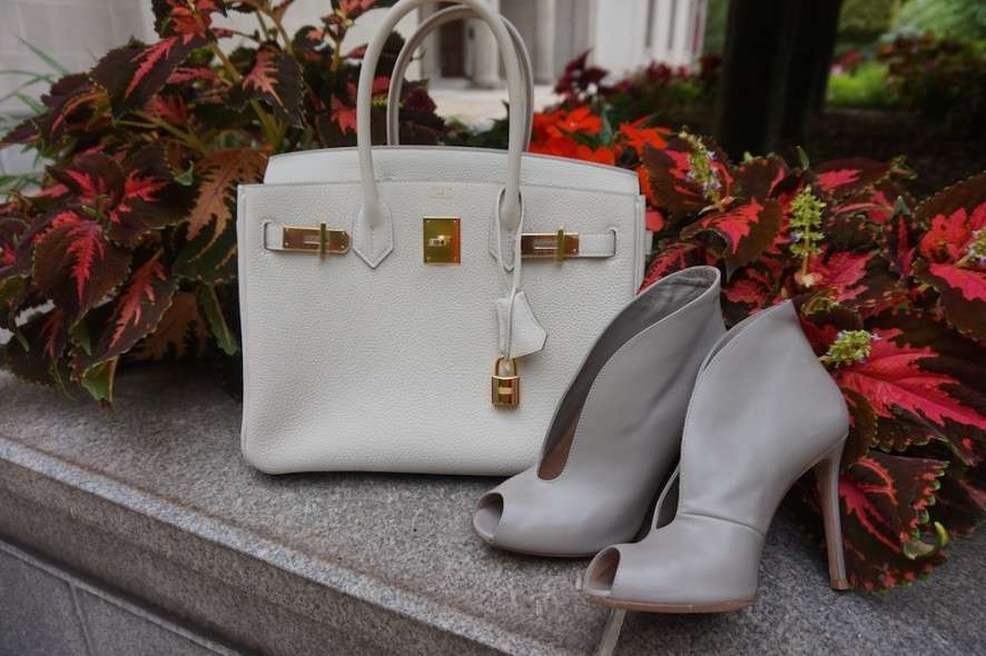 Hermes Craie birkin 30cm and Gianvito Rossi v neck booties