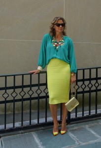 J Crew statement necklace, Forever 21 chiffon top